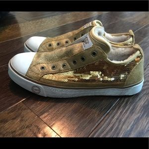 Ugg gold sequin tennis shoes slip on 9